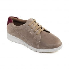RE RUN Ladies Leather Extra Wide/Plus Lace Up Shoes Taupe