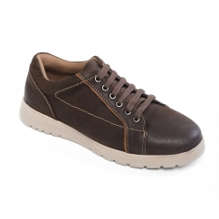 REACT Mens Leather Wide/Extra Wide Trainers Brown