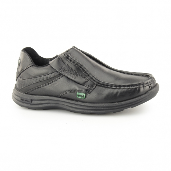 Kickers REASAN SLIP Boys Leather Slip-On Shoes Black