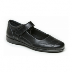 REBECCA Girls Leather School Shoes Black