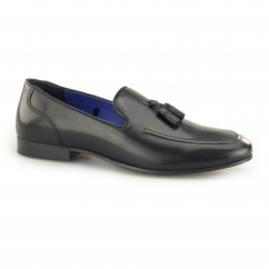 AMPTHILL Mens Leather Tassel Loafers Black