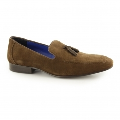 APSLEY Mens Suede Leather Tassel Loafers Brown