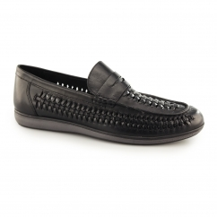 ASHLEY Mens Leather Weave Slip On Loafers Black