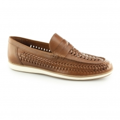 ASHLEY Mens Leather Weave Slip On Loafers Tan