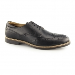 BACKFORD Mens Leather Lace Up Brogue Derby Shoes Black