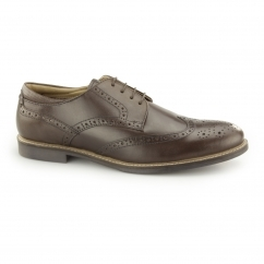BACKFORD Mens Leather Lace Up Brogue Derby Shoes Brown