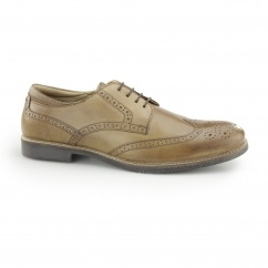BACKFORD Mens Leather Lace Up Brogue Derby Shoes Tan