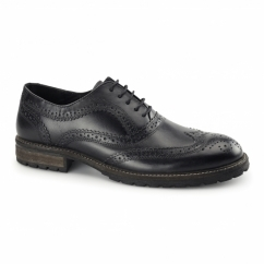 BARROW Mens Leather Lace Up Brogues Black