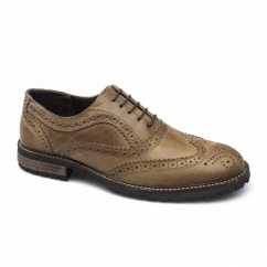 BARROW Mens Leather Lace Up Brogues Red Brown