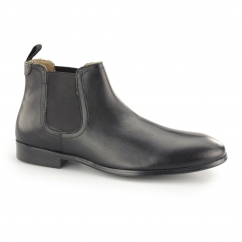 BEESTON Mens Leather Chelsea Boots Black