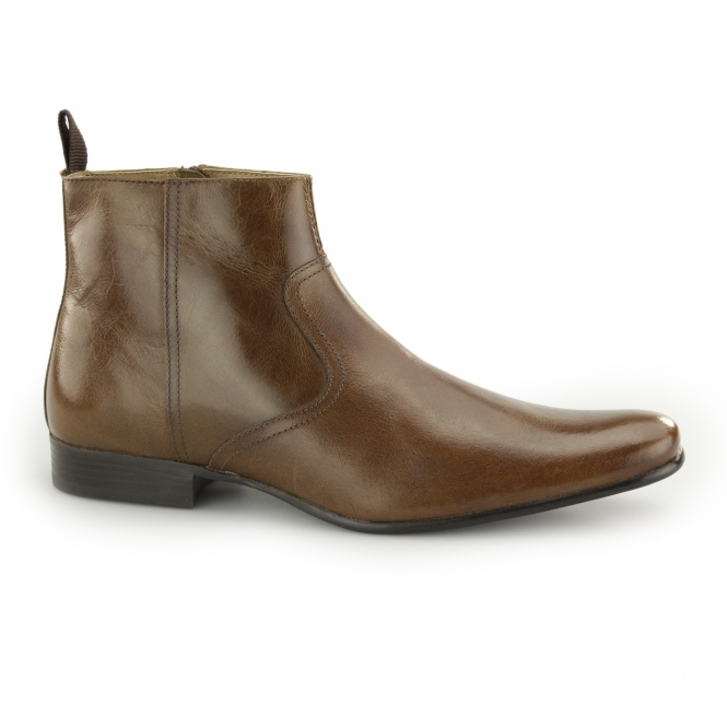 BELMONT Mens Leather Zip Up Casual Ankle Boots Tan