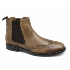 BOYNE Mens Leather Brogue Chelsea Boots Tan