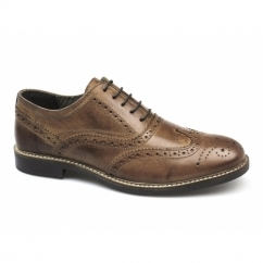 BRADSHAW Mens Leather Lace Up Brogues Red Brown