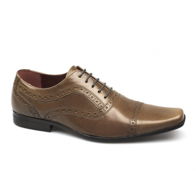 Red Tape BRANSTON Mens Leather Brogue Chiseled Shoes Tan