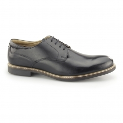 BROXTON Mens Leather Lace Up Derby Shoes Black