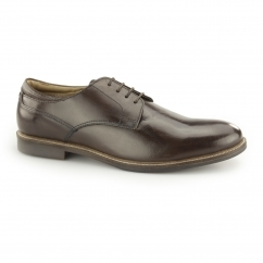 BROXTON Mens Leather Lace Up Derby Shoes Brown