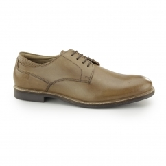 BROXTON Mens Leather Lace Up Derby Shoes Tan