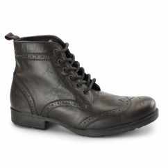 BUTLEY Mens Leather Brogue Military Boots Brown