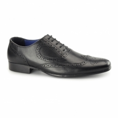 CARLOW Mens Leather Chisel Toe Brogues Black