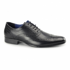 CARN 2 Mens Leather Chisel Toe Brogues Black