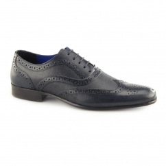CARN 2 Mens Leather Chisel Toe Brogues Blue
