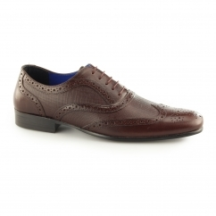 CARN 2 Mens Leather Chisel Toe Brogues Bordo
