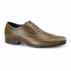 CARN 2 Mens Leather Chisel Toe Brogues Tan