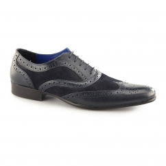 CARN Mens Leather/Suede Smart Brogues Blue/Blue