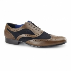 CARN Mens Leather/Suede Smart Brogues Tan/Navy