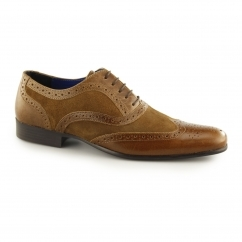 CARN Mens Leather/Suede Smart Brogues Tan/Tan