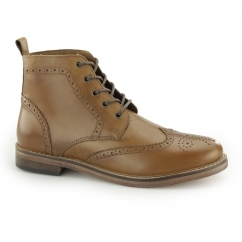 CLARENDON Mens Leather Brogue Ankle Boots Tan
