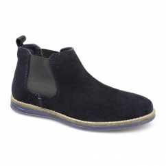 CORRAN Mens Suede Leather Chelsea Boots Navy