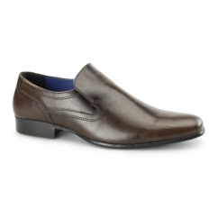 DERRY Mens Plain Leather Slip-On Shoes Brown