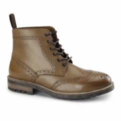 DEVLIN Mens Leather Brogue Derby Boots Tan