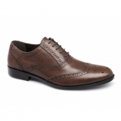FEALE Mens Leather Lace Up Brogues Red Brown