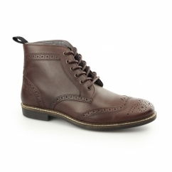 GLAVEN Mens Leather Brogue Derby Boots Bordo