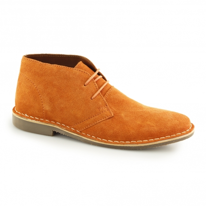 Red Tape GOBI II Mens Suede Leather Desert Boots Orange