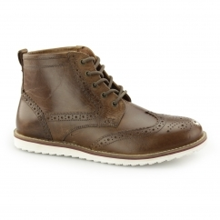 HORWOOD Mens Leather Brogue Ankle Boots Tan