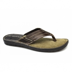 JED Mens Toe Post Padded Flip Flops Brown