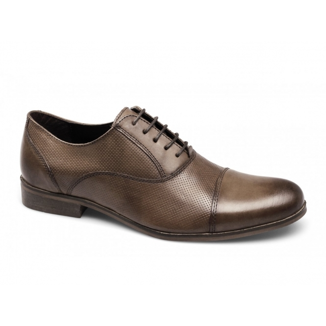 Red Tape KALE Mens Perforated Leather Shoes Burnished Tan