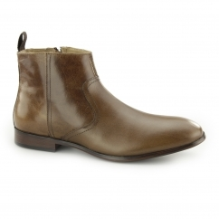 LANGDEN Mens Leather Zip Ankle Boots Tan