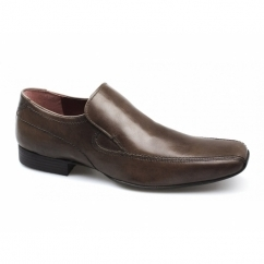 LEEK Mens Leather Slip-On Shoes Brown