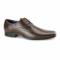 LEVEN Mens Leather Formal Derby Shoes Brown