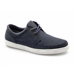 MARDEN Mens Nubuck Leather Lace-Up Shoes Navy