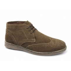 MAYO Mens Suede Brogue Desert Boots Tan