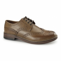 MEATH Mens Leather Lace Up Brogue Shoes Tan