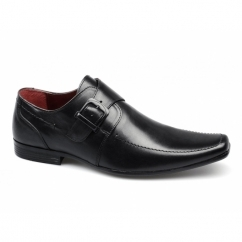 MERSEY 2 Mens Leather Chisel Toe Buckle Shoes Black