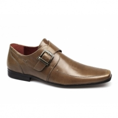 MERSEY 2 Mens Leather Chisel Toe Buckle Shoes Tan