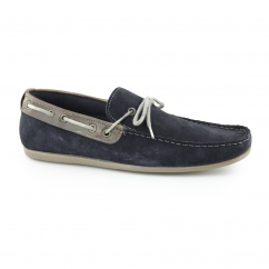 SANDY Mens Suede Boat Shoes Navy