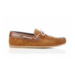 SANDY Mens Suede Boat Shoes Tan